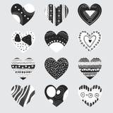 Cuori in bianco e nero Fotografie Stock