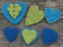 Cuori blu della tessile Fotografia Stock