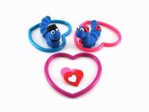 Cuori blu delle coppie di Werm Fotografia Stock