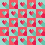 Cuori blu e rosa nello stile piano Fotografia Stock Libera da Diritti