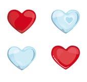 Cuori blu rossi Immagine Stock Libera da Diritti