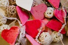 Cuori, cartolina d'auguri di giorno di biglietti di S. Valentino Immagini Stock Libere da Diritti
