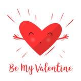 Cuori che abbracciano e felici Dichiarazione di amore Giorno del `s del biglietto di S Cuore grazioso Fotografia Stock Libera da Diritti