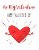 Cuori che abbracciano e felici Dichiarazione di amore Giorno del `s del biglietto di S Cuore grazioso Fotografie Stock