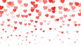 Cuori che cadono sul fondo bianco Coriandoli rossi dei cuori isolati su bianco Decorazione di giorno di biglietti di S. Valentino illustrazione di stock