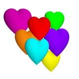 Cuori colorati 3d Fotografie Stock Libere da Diritti