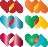 Cuori Colourful impostati Immagine Stock Libera da Diritti