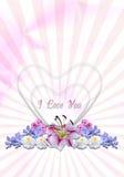 Cuori con le ghirlande dei fiori nel fondo radiante Immagini Stock Libere da Diritti