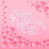 Cuori con un'iscrizione della mano del giorno felice del ` s del biglietto di S. Valentino Carta di festa, etichetta di trasporto Fotografia Stock