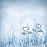 Cuori congelati biglietti di S. Valentino Fotografia Stock Libera da Diritti