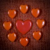 Cuori d'annata per il San Valentino Immagini Stock Libere da Diritti