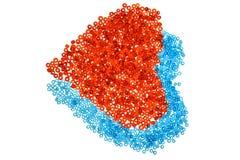 Cuori dalle perle rosse e blu Fotografie Stock Libere da Diritti