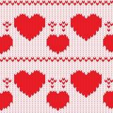 Cuori decorativi tricottati del biglietto di S. Valentino del tessuto Fotografia Stock Libera da Diritti