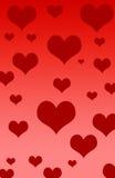 Cuori dei biglietti di S. Valentino Immagini Stock