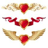 Cuori dei biglietti di S. Valentino con la decorazione Fotografia Stock
