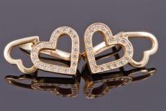 Cuori dei gioielli dell'oro Immagine Stock