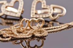 Cuori dei gioielli dell'oro Fotografia Stock Libera da Diritti