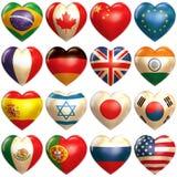 Cuori dei paesi in 3d Fotografia Stock
