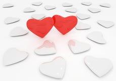 Cuori del biglietto di S. Valentino Fotografie Stock