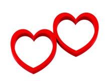 cuori del biglietto di S. Valentino 3d isolati su fondo bianco Fotografia Stock Libera da Diritti
