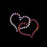 Cuori del biglietto di S. Valentino del diamante sul nero Immagine Stock Libera da Diritti