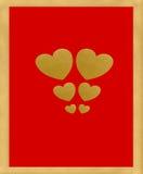 Cuori del biglietto di S. Valentino dell'oro Fotografia Stock