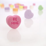 Cuori del biglietto di S. Valentino della caramella Fotografia Stock