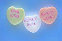 Cuori del biglietto di S. Valentino della caramella Fotografie Stock