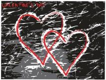 Cuori del biglietto di S. Valentino di vettore Immagine Stock