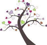 Cuori del biglietto di S. Valentino e dell'albero nel vettore Immagine Stock