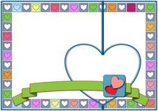 Cuori del biglietto di S. Valentino nei quadrati di colori pastelli Fotografie Stock