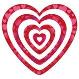 Cuori del biglietto di S. Valentino sulle forme del cuore Fotografia Stock Libera da Diritti