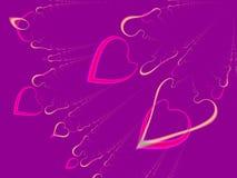 Cuori del biglietto di S. Valentino (volo) Immagine Stock