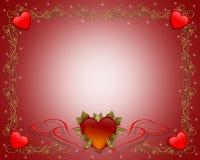 Cuori del bordo del biglietto di S. Valentino Fotografia Stock