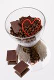 Cuori del cioccolato del caffè Fotografia Stock Libera da Diritti