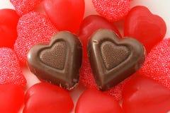 Cuori del cioccolato e della caramella Fotografia Stock