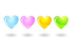 Cuori del colorfull del biglietto di S. Valentino isolati su bianco Immagine Stock
