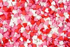 Cuori del fondo di giorno di biglietti di S. Valentino Fotografie Stock Libere da Diritti