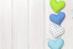 Cuori del giocattolo di giorno di biglietti di S. Valentino Fotografia Stock Libera da Diritti