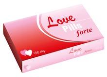 Cuori del pacchetto delle pillole di amore Fotografia Stock Libera da Diritti