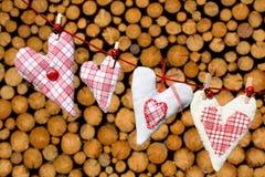 Cuori del paese sul clothesline Fotografia Stock Libera da Diritti