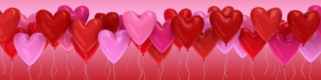 cuori del pallone di giorno del ` s del biglietto di S. Valentino 3D Fotografie Stock Libere da Diritti