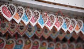 Cuori del pan di zenzero Immagini Stock
