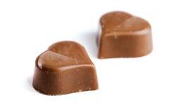 Cuori deliziosi del cioccolato Fotografia Stock