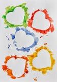 Cuori dell'acquerello su fondo bianco Fotografia Stock