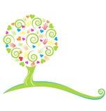 Cuori dell'albero e mani dipinte Fotografia Stock Libera da Diritti