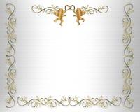 Cuori dell'oro del bordo dell'invito di cerimonia nuziale Fotografie Stock