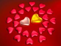 Cuori dell'oro e di colore rosso su colore rosso Fotografie Stock