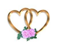 Cuori dell'oro e rose collegati 3D Fotografia Stock Libera da Diritti