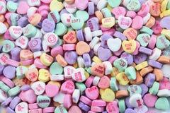 Cuori della caramella di giorno dei biglietti di S. Valentino Immagini Stock
